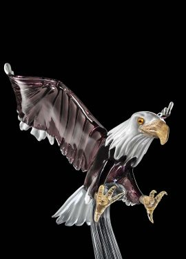 American Eagle 170cm high, Murano glass sculpture of incredible size. The beak and legs are in 24K gold.