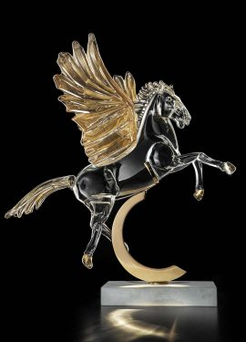 Pegasus Winged Horse sculpture handmade in Murano glass, the color of the pegasus body is crystal with 24K gold leaf.