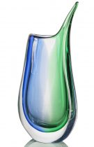 Modern Style Blown Vase made of Murano glass. Blue and green are submerged creating a trio of shaded colors.