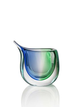 Submerged vase made of Murano glass whose features and colors are modern and elegant, generating a trio of shaded colors.