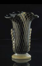 Red Gold Blown Vase made of Murano glass. the effect given by 24K gold is in the shape of a