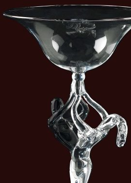 Black crystal Lovers sculpture vase in Murano glass handmade by our glass masters according to ancient Venetian art. Modern style