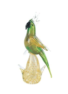 Parrot handmade in Murano glass. The color of the parakeet is green while the details and the base are fused with 24K gold leaf.