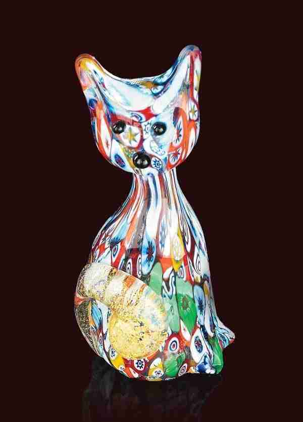 Cat animal in Murano glass handmade by our glass masters with the use of multicolored murrine and 24K gold leaf to enhance the details of the sculpture.