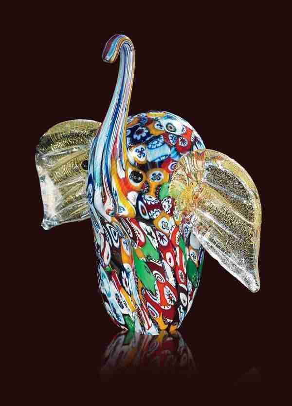 Murano glass animal handmade by our glass masters with the use of multicolored murrine and 24K gold leaf to enhance the details of the sculpture.
