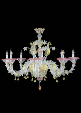 Rezzonico chandelier in Murano glass made entirely by hand. Crystal glass body with ruby green decorations and 24 carat gold leaf.