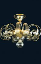 Handmade ceiling lamp with curls in Murano glass, amber gives elegance to the ceiling lamp. The ancient Venetian glass art.