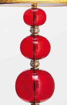 Floor lamp height 185cm, lampshade 55cm, in blown Murano glass with 24K gold spheres of various sizes.
