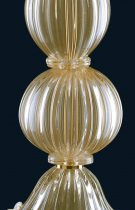 Table lamp 80cm high in Murano glass, whose color of the glass is covered with 24K gold leaf.