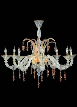 Rezzonico crystal chandelier with amber details handmade by Murano glass masters, according to Venetian traditions. Murano glass chandelier in