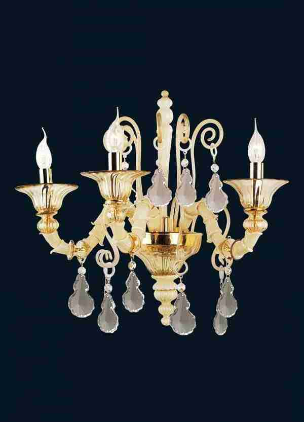 Rezzonico Pagliesco wall lamp handmade by master glassmakers in Murano glass 3 lights and crystal pendants.