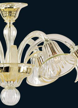 Handmade ceiling light in Murano glass.