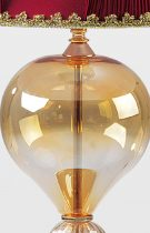Table floor lamp 81cm high, including lampshade, in amber-colored and buffered gold Murano glass.