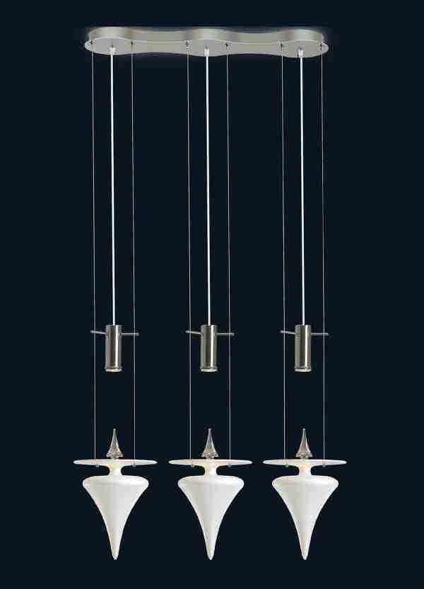 Modern chandelier made of blown glass according to ancient Venetian traditions. The shape of the glass is pyramidal smooth to the touch.