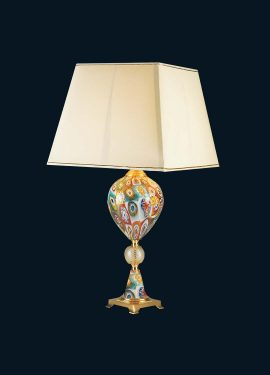 Table lamp 76cm high, including lampshade, in Murano glass using multicolored murrine.