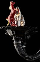 Black Venetian chandelier with red rampant horses 24k gold leaf handmade by master glassmakers in Murano glass, Venetian tradition.