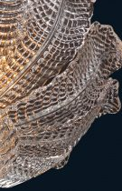 Elegant ceiling lamp made by hand with Murano glass leaves The back is made of crystal and final knob.