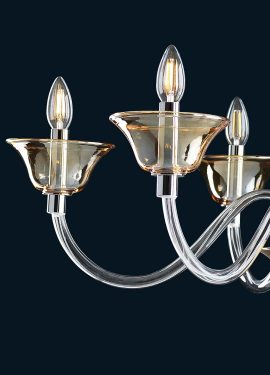 Venetian crystal amber chandelier handmade by master glassmakers in Murano glass, according to Venetian traditions.