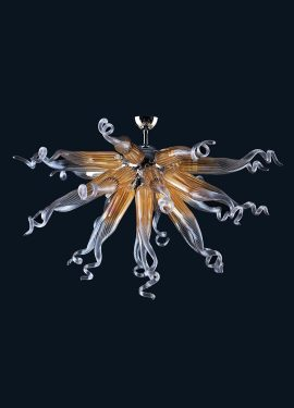 Medusa Riccia Ceiling Lamps Murano Glass made of Murano glass; the metal structure is galvanized chrome, from which a series of irregularly shaped blown glasses depart.