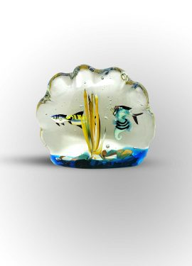 Aquarium made of Murano glass with the submerged technique. In this case we see fish submerged in an aquarium.