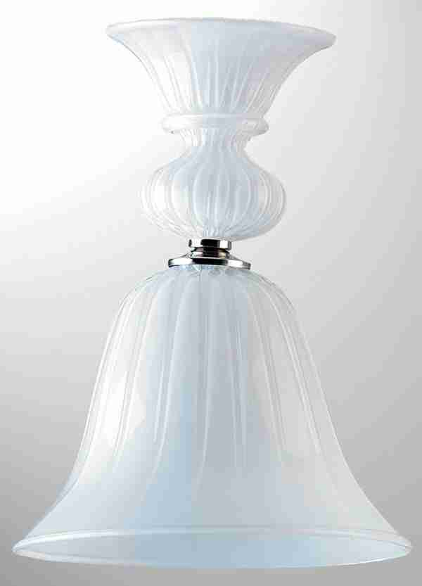 Murano glass suspension composed of 3 glass parts and a light. Bell shape allows light to pass through.
