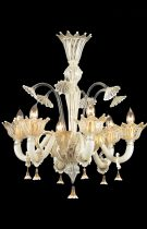 Venetian chandelier handmade, by our glass masters, in Murano glass with filigree and white sapphire and 24K gold decorations.