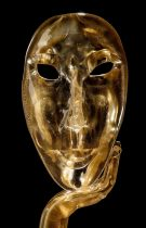 All 24k gold mask with blue arm and black base. Gorgeous work of art made entirely by hand by our glass masters n original Murano glass.